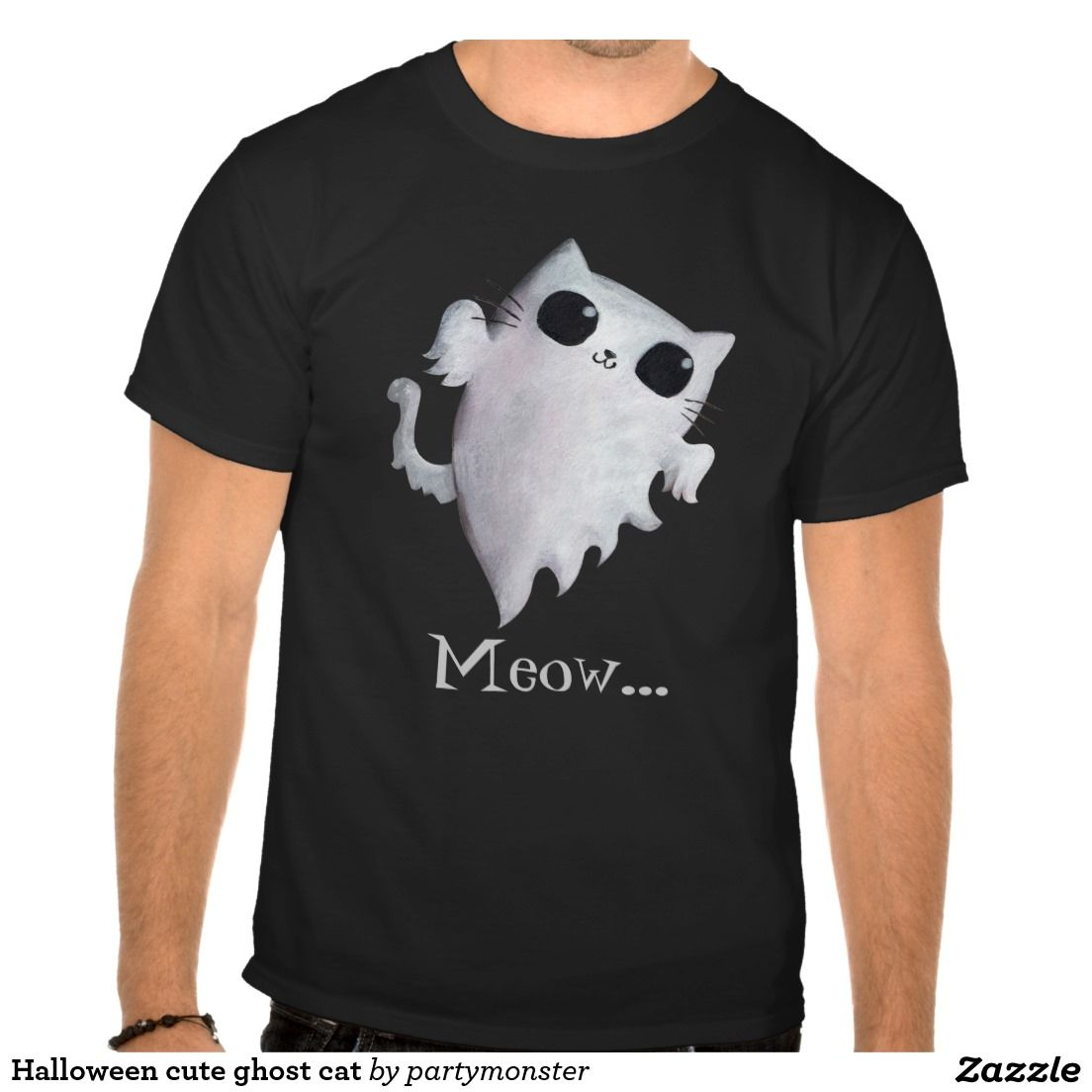 Halloween cute ghost cat tees