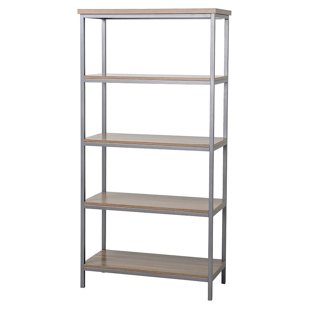 Homestar North America 4 Shelf Bookcase Natural Metal Bookcase 5 Shelf Bookcase
