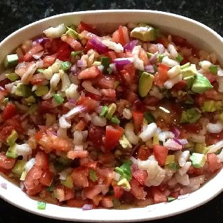 Skinny Shrimp Salsa--I added avocado!