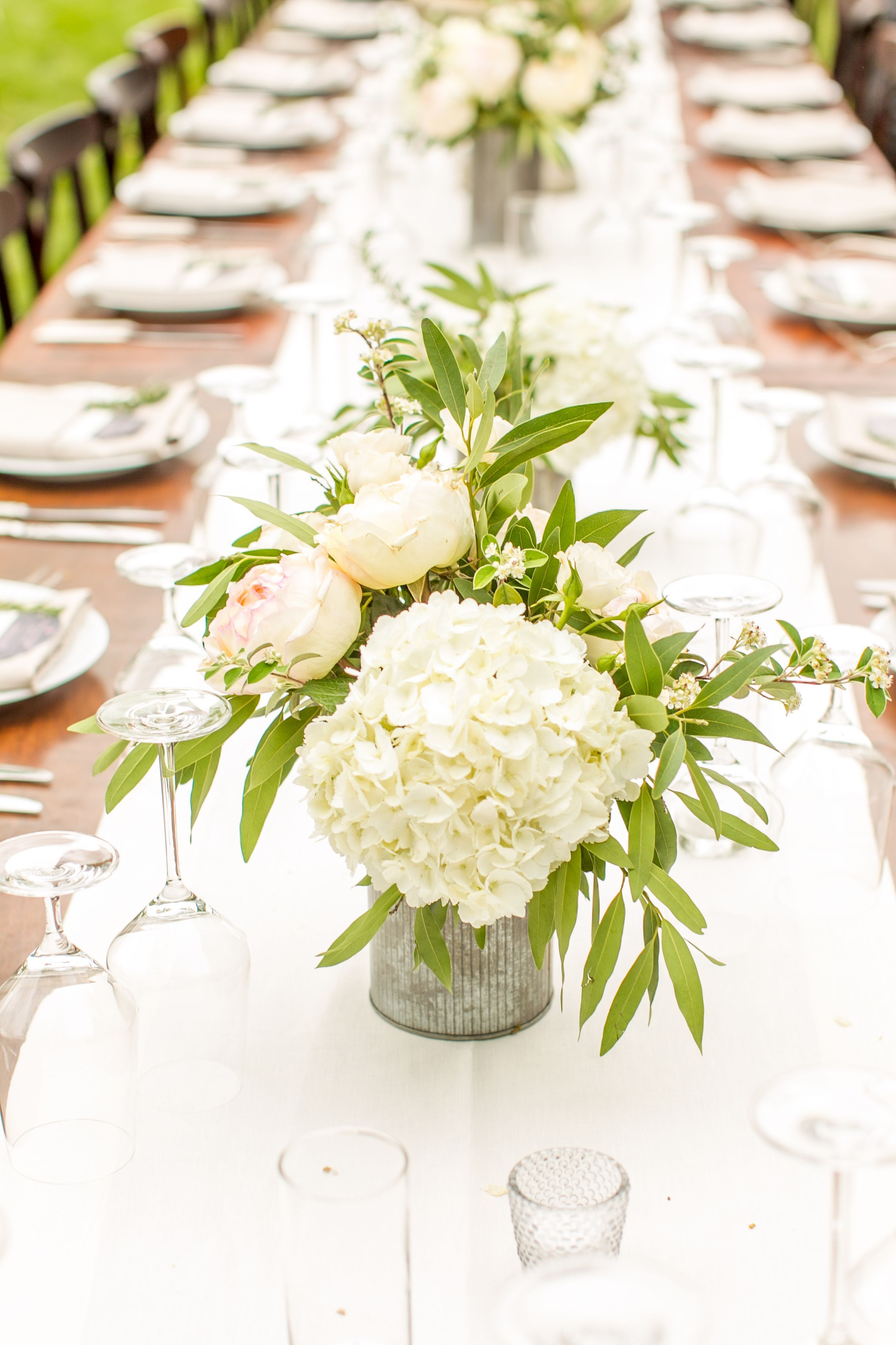Need wedding ideas? Check out this lush white hydrangea centerpieces ...