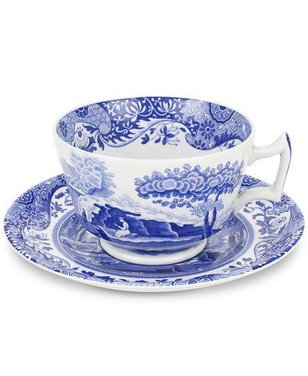 Spode Dinnerware, Blue Italian Teacup & Saucer