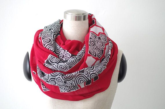 Red chiffon scarf hand painted with abstract by BorneoBatikraft