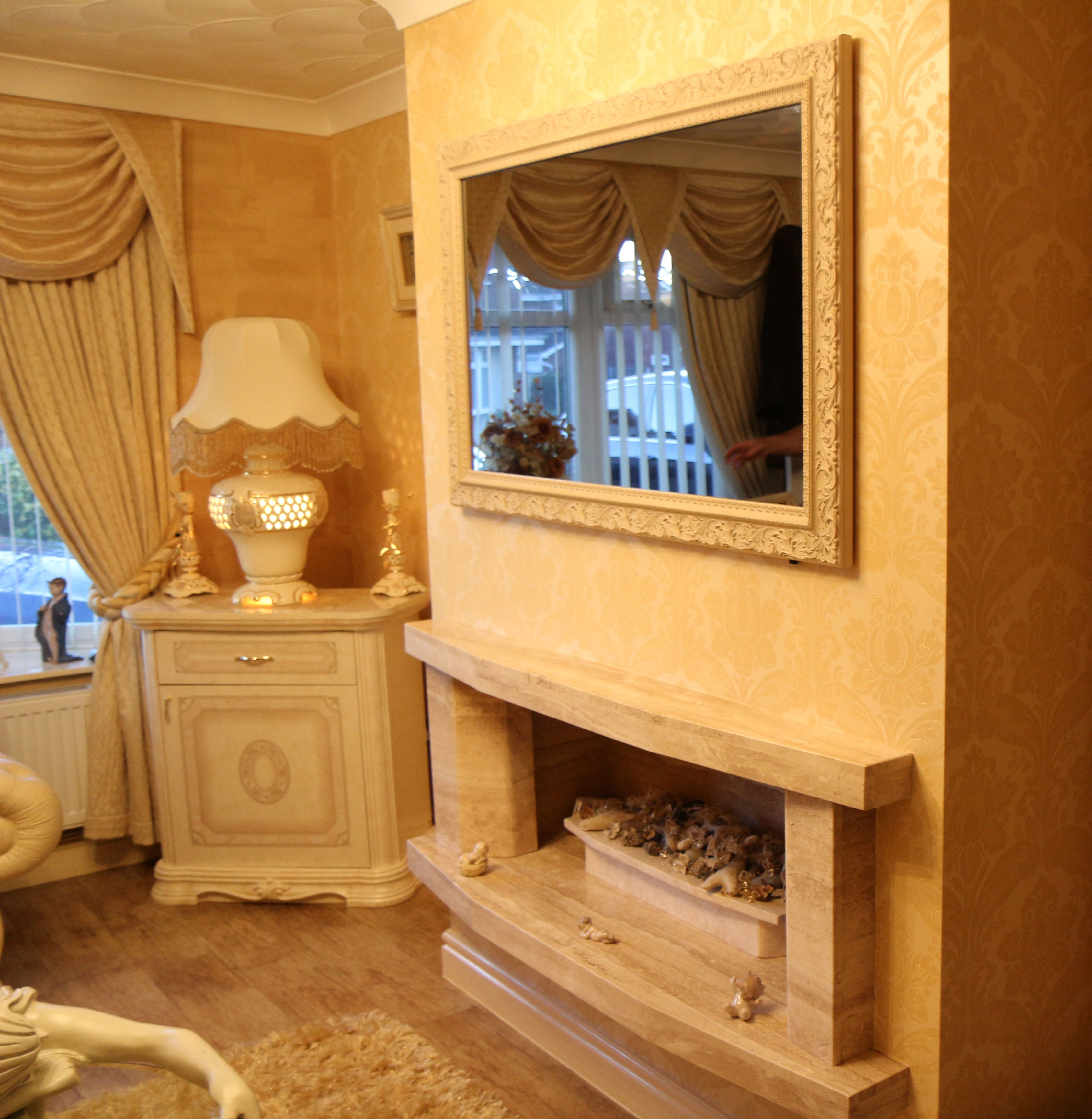 Rome Ivory TV Mirror Frame above a fireplace. www.frameyourtv.co.uk ...
