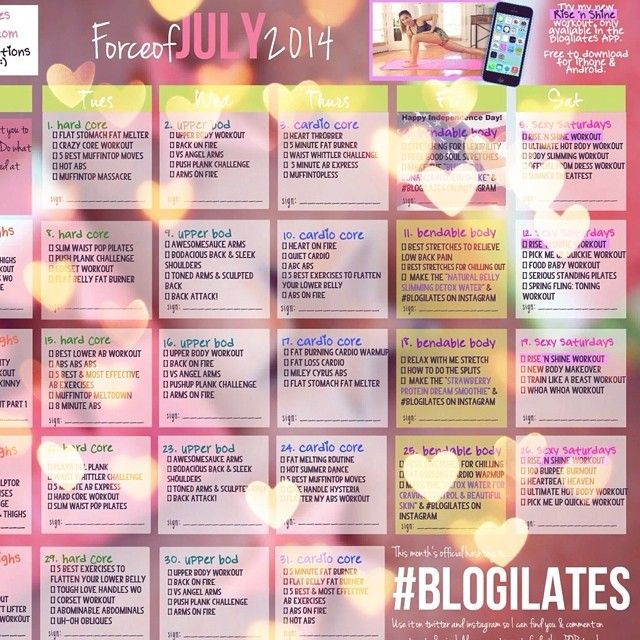 Your New Forceofjuly Blogilates Workout Calendar Is Out Did