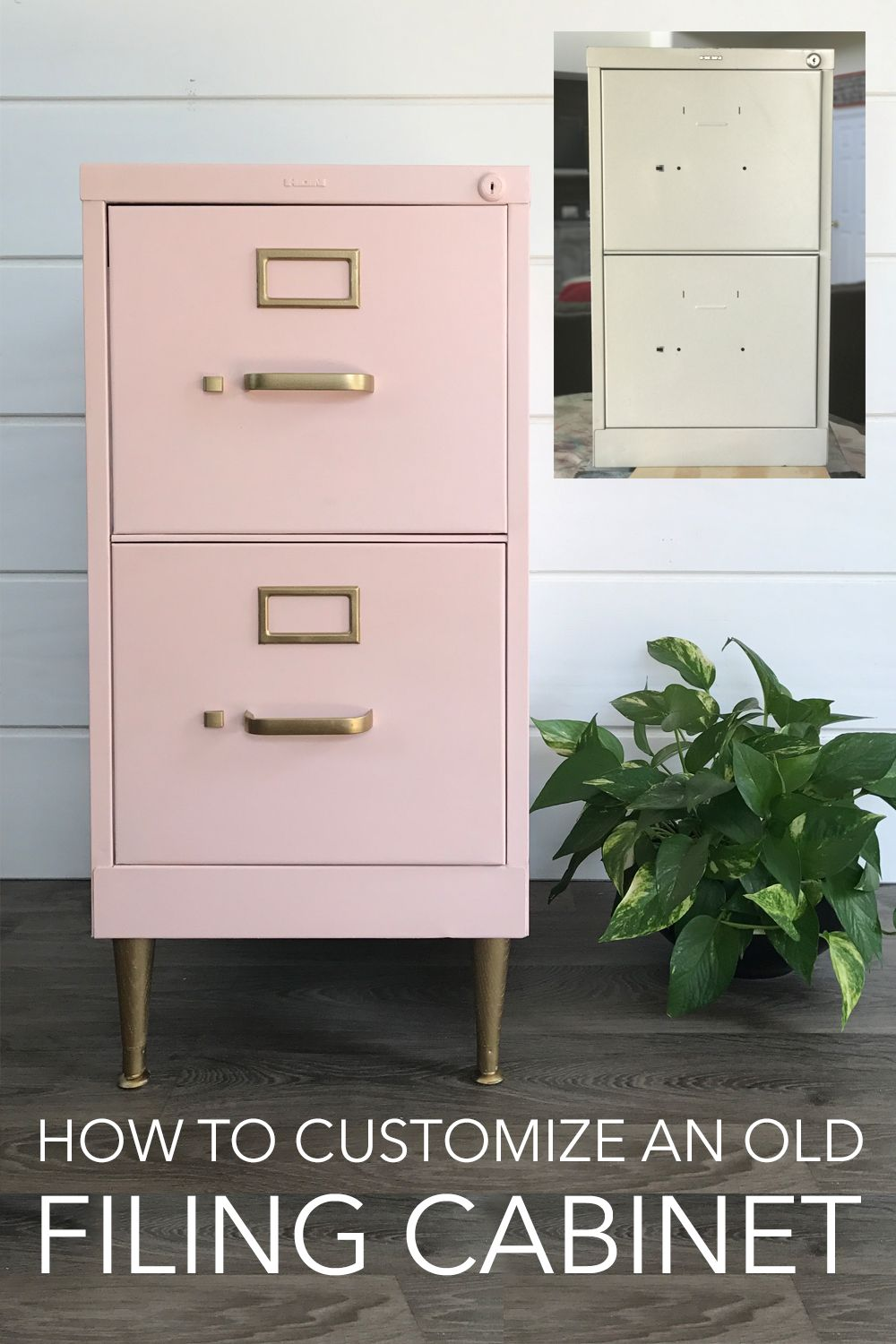 Filing Cabinet Makeover - File cabinet makeover, Filing cabinet, Diy office, Diy file cabinet, Painted file cabinets, Furniture makeover diy - Give a boring filing cabinet a cool, new look with chalk paint and legs!