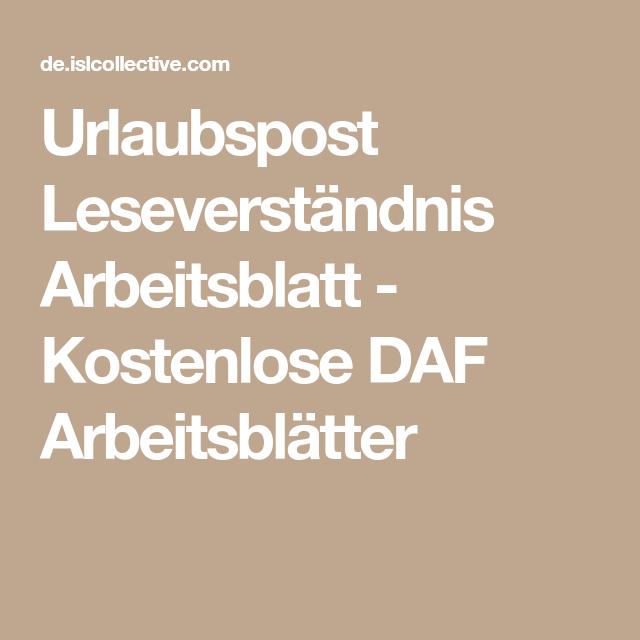 Urlaubspost Leseverständnis Arbeitsblatt - Kostenlose DAF ...