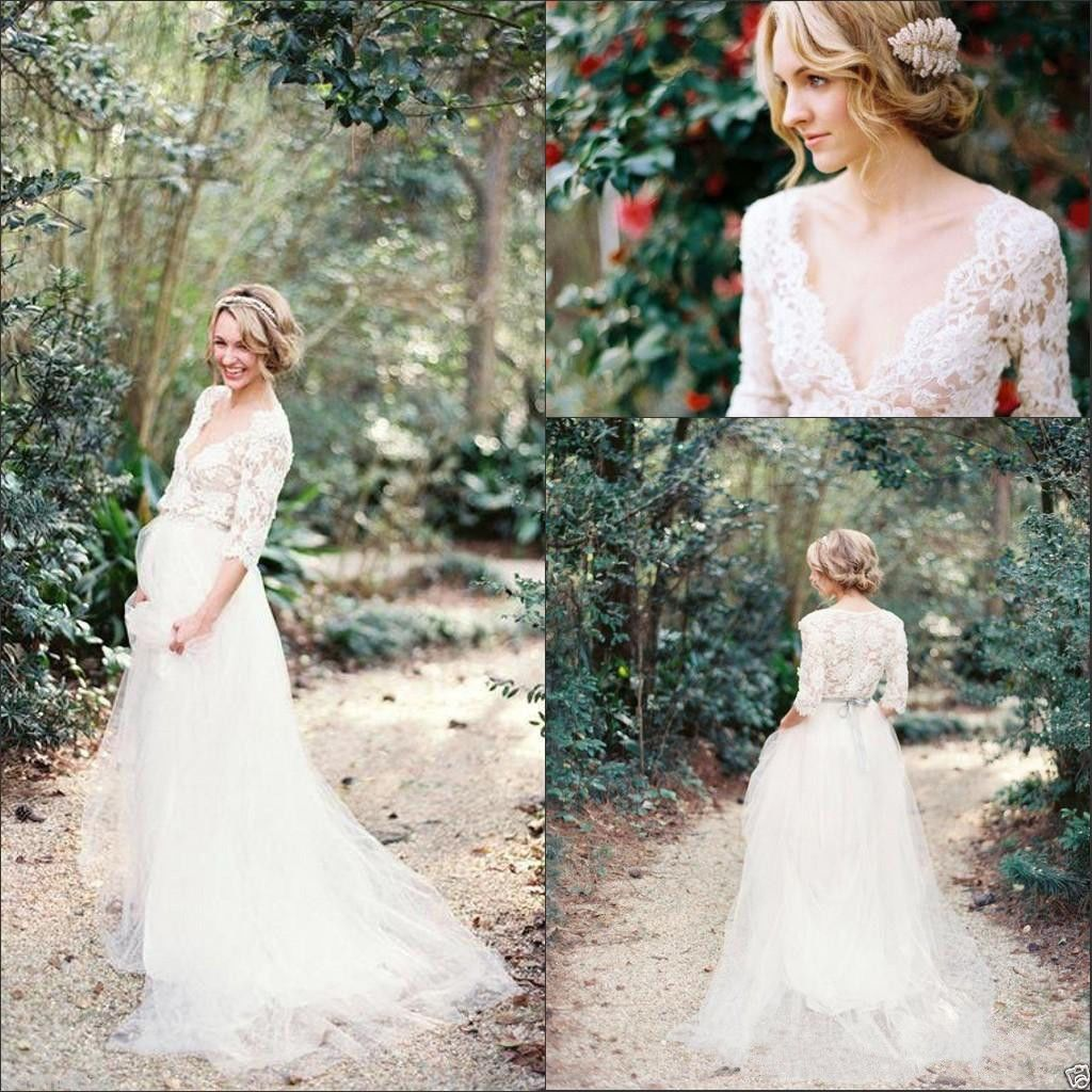 Nice great v neck wedding dress fairy maternity bridal gown