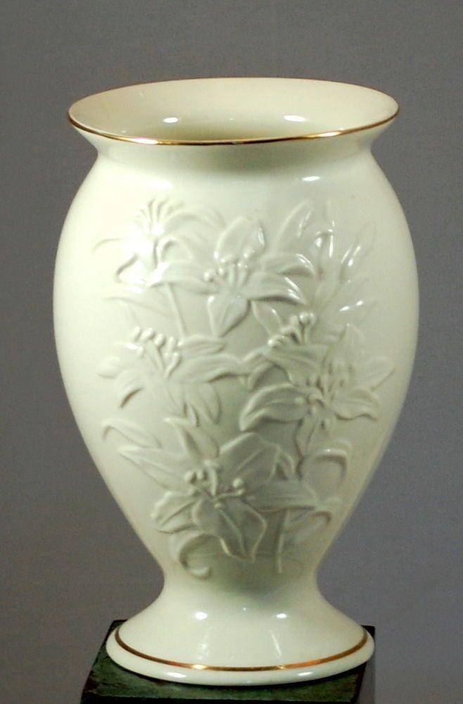 Large Lenox Lily Pattern Porcelain Vase With Gold Trim Vases