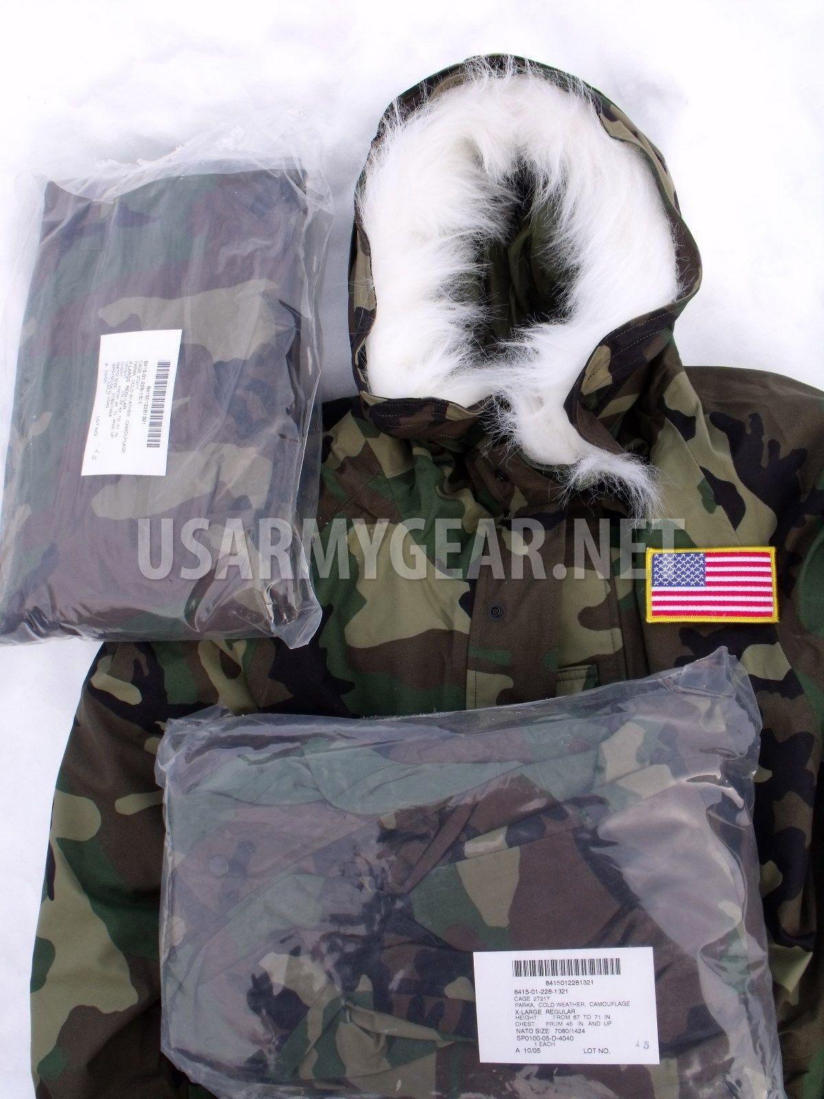 d702dbbf73e New US Army Cold Wet Weather Gen 1 Woodland Goretex Parka Jacket + Fur Hood