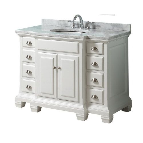 Lowes Allen Roth 45 White Carrara Bath Vanity With Top Item