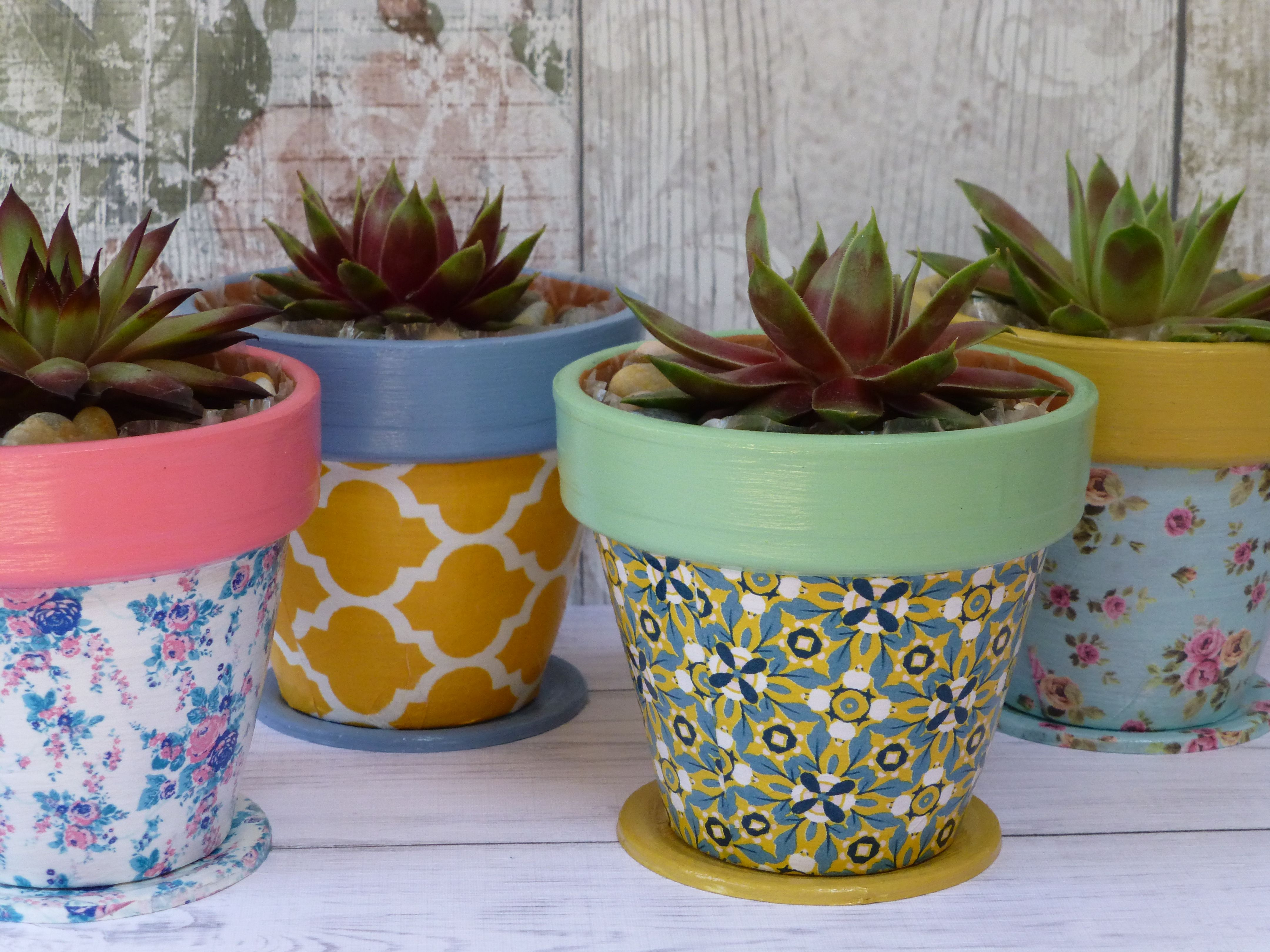 Mini Painted And Decoupage Decorated Terracotta Plant Pots