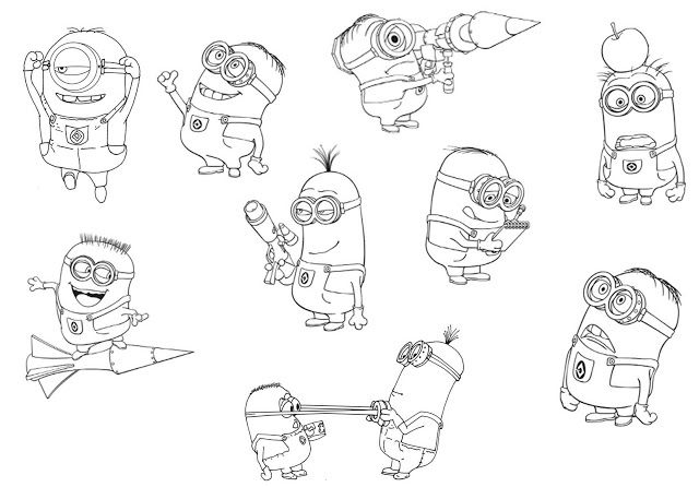 Free coloring page coloringverynumerousminions Very numerous
