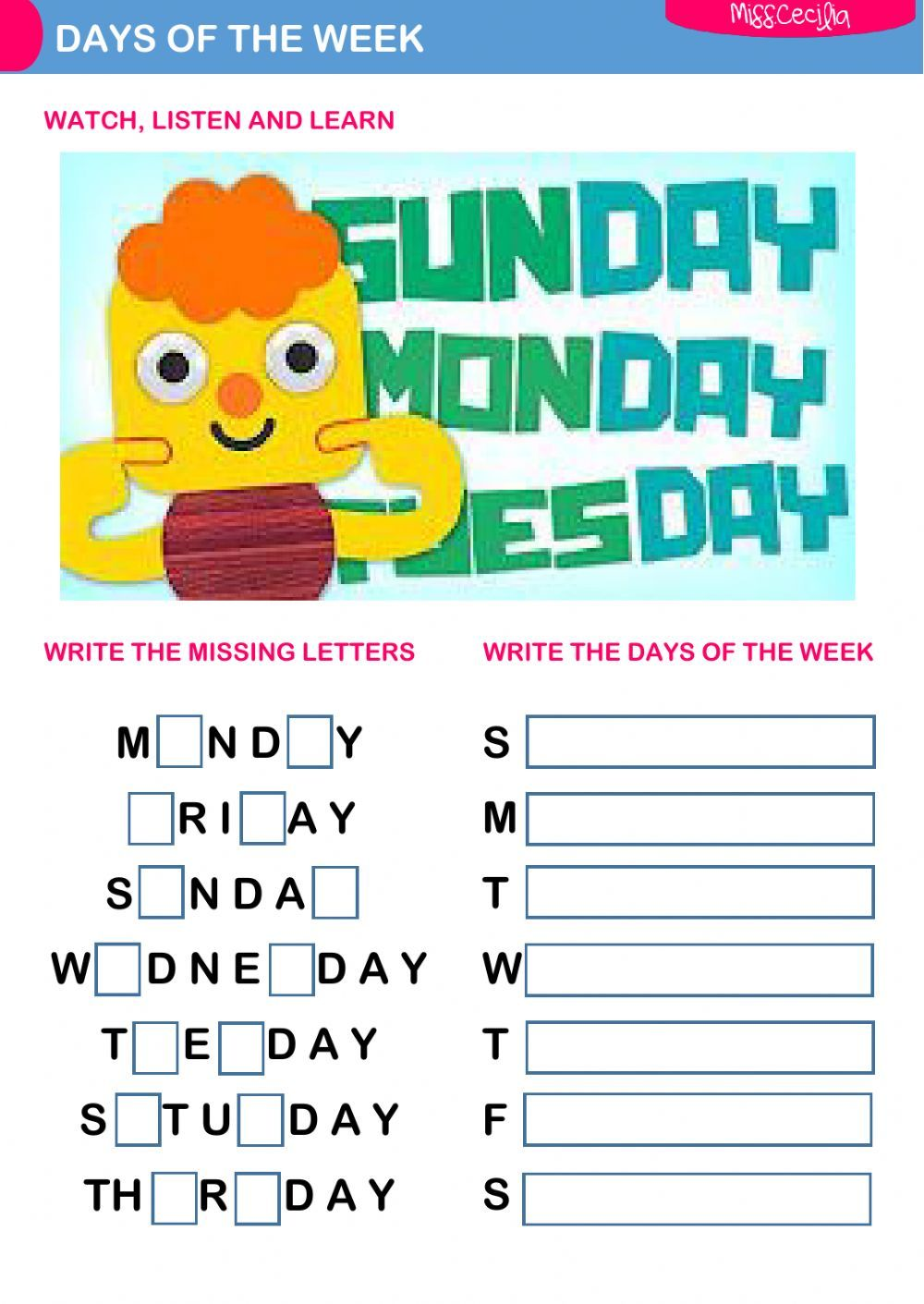Days of the week interactive and downloadable worksheet. Check your ...