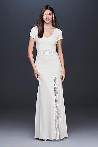 28009bd0e7a View Cap Sleeves Long Wedding Dress at David s Bridal