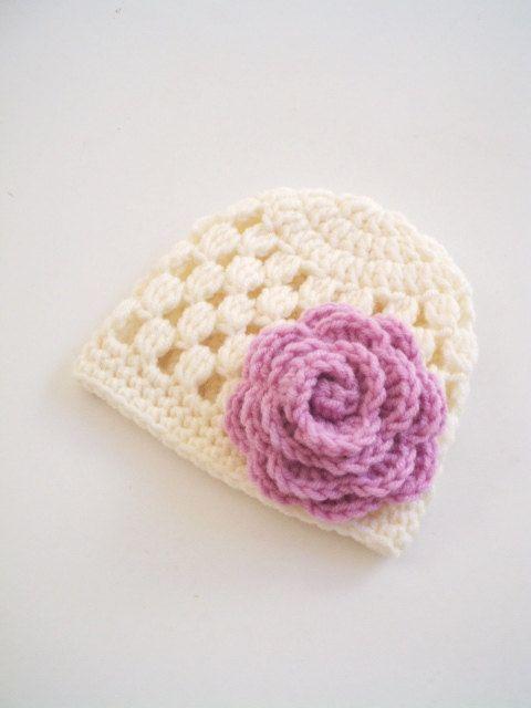 Newborn girl Hat Crochet beanie new born Baby Girl by prettyobject ...