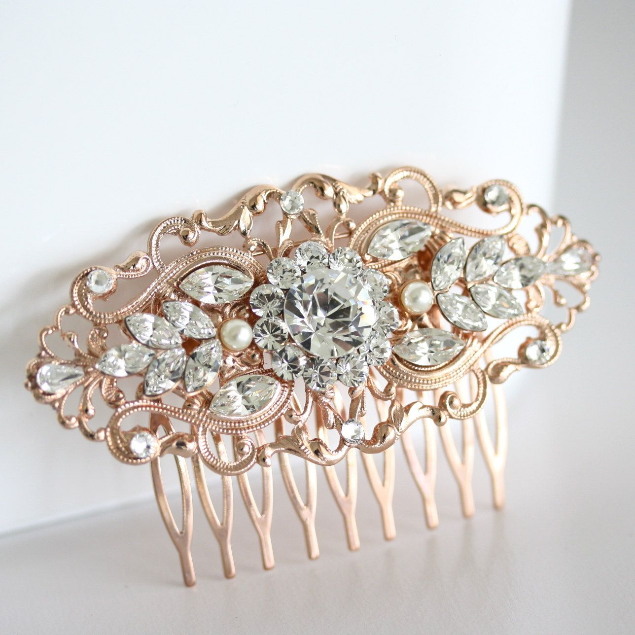 Rose gold wedding hair comb art deco bridal hair accessories vintage