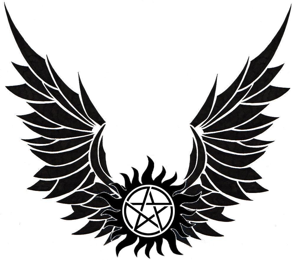 Winged Anti Possession symbol Anti possession tattoo