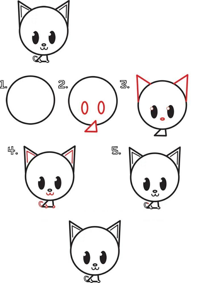 Tiere Malen Und Zeichnen Einfache Anleitungen Fur Kinder Gambar Hewan Anak Kucing Gambar Kartun