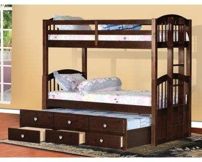 K B Furniture Twin Over Twin Bunk Bed With Trundle And Storage
