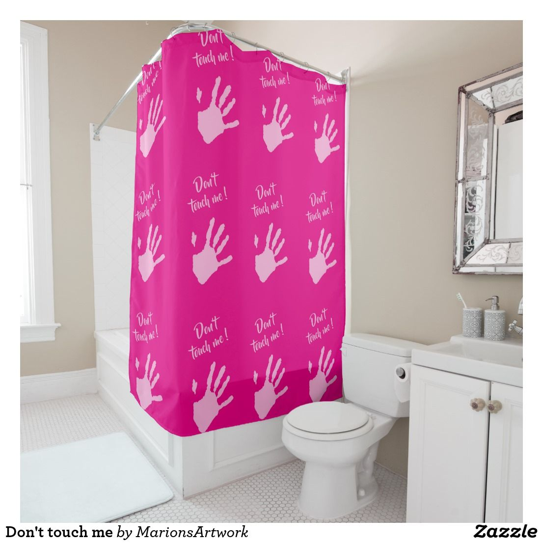 Don T Touch Me Duschvorhang Zazzle De Badezimmer Dekor