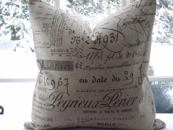 French Script Linen Decorative Designer Pillow Cover Neutral Tan