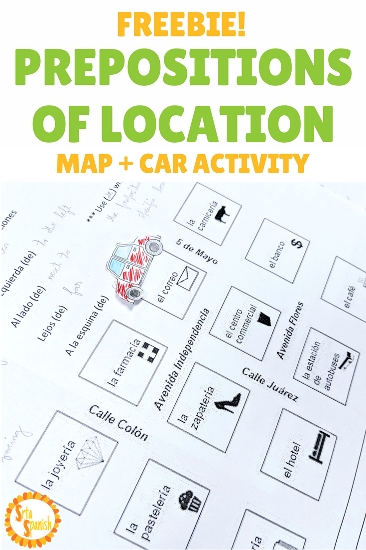FREEBIE Prepositions of Location Activity | Srta Spanish Store ...