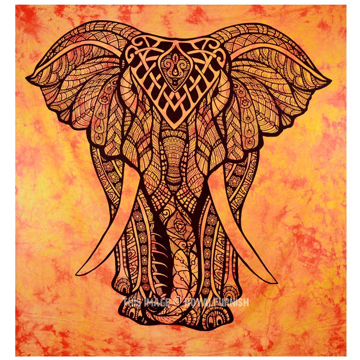 Orange Multi Valentina Harper Ruby Tie dye Elephant Tapestry on RoyalFurnish.com, $13.99