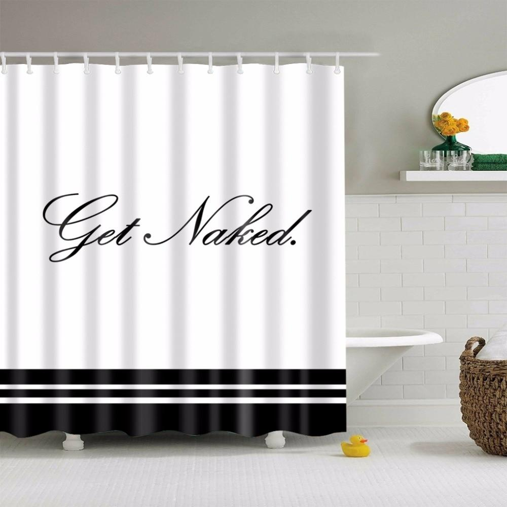 Black White Polyester Get Naked Shower Curtain Fabric Curtains Hooks Garden