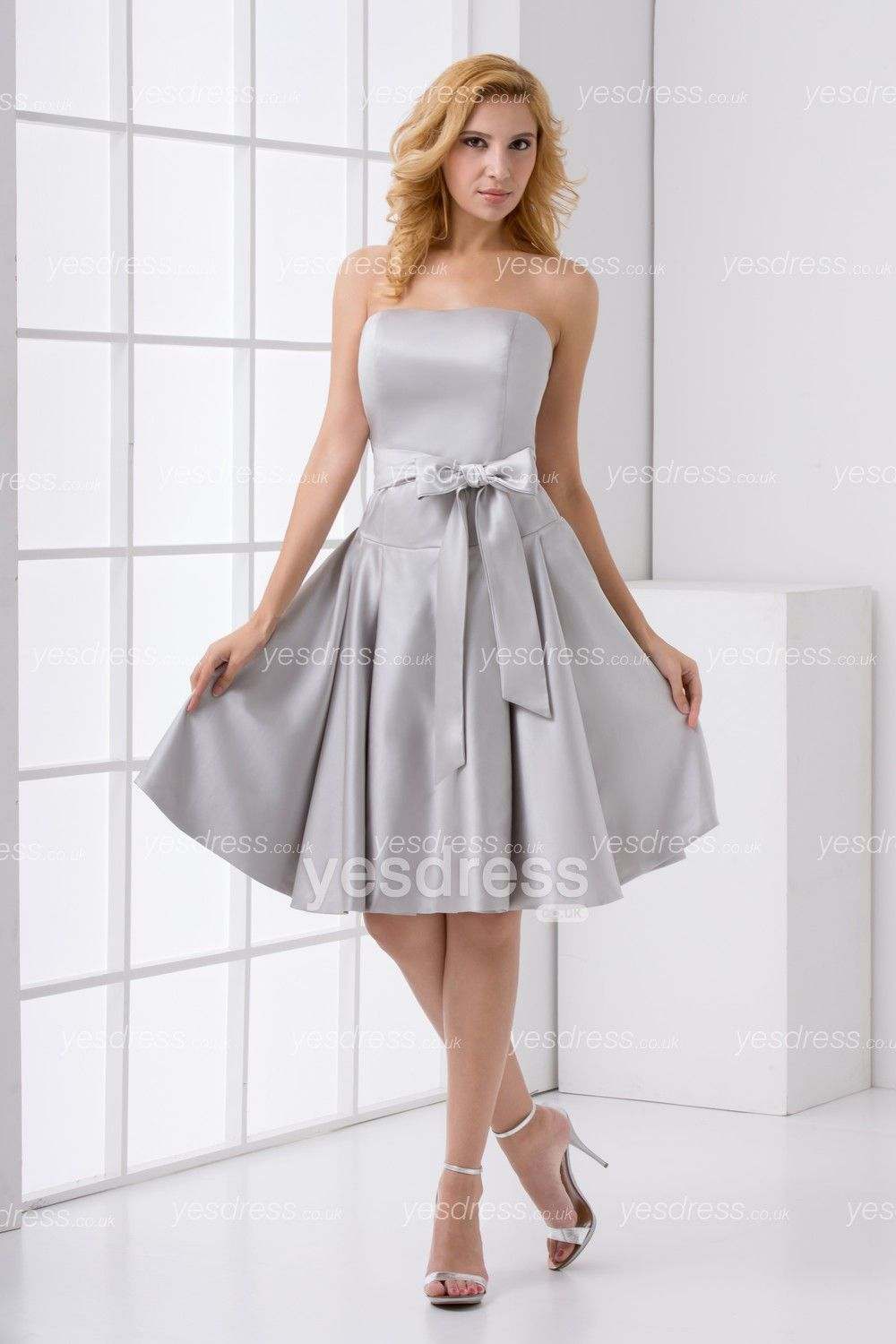 Fine A-line Strapless Knee Length Silver Short Bridesmaid Dress With ...