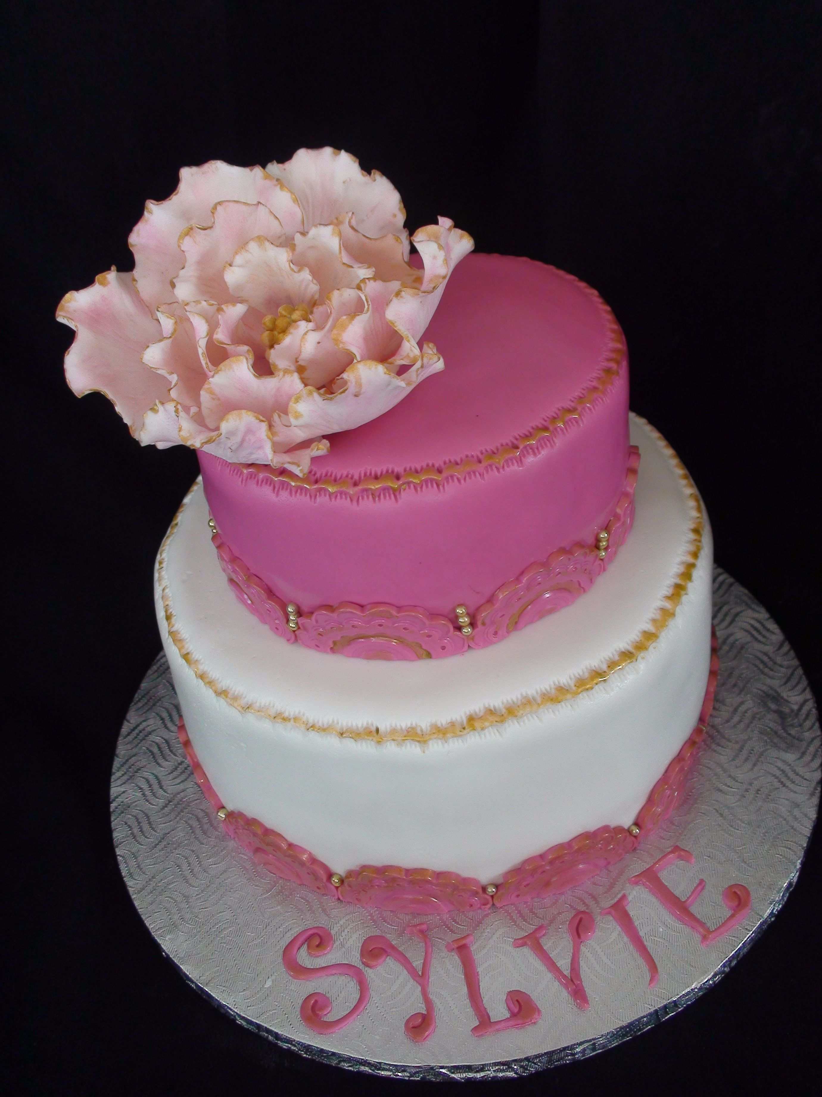pink and gold cake - last minute cake made for my neighbour... still happy with it!