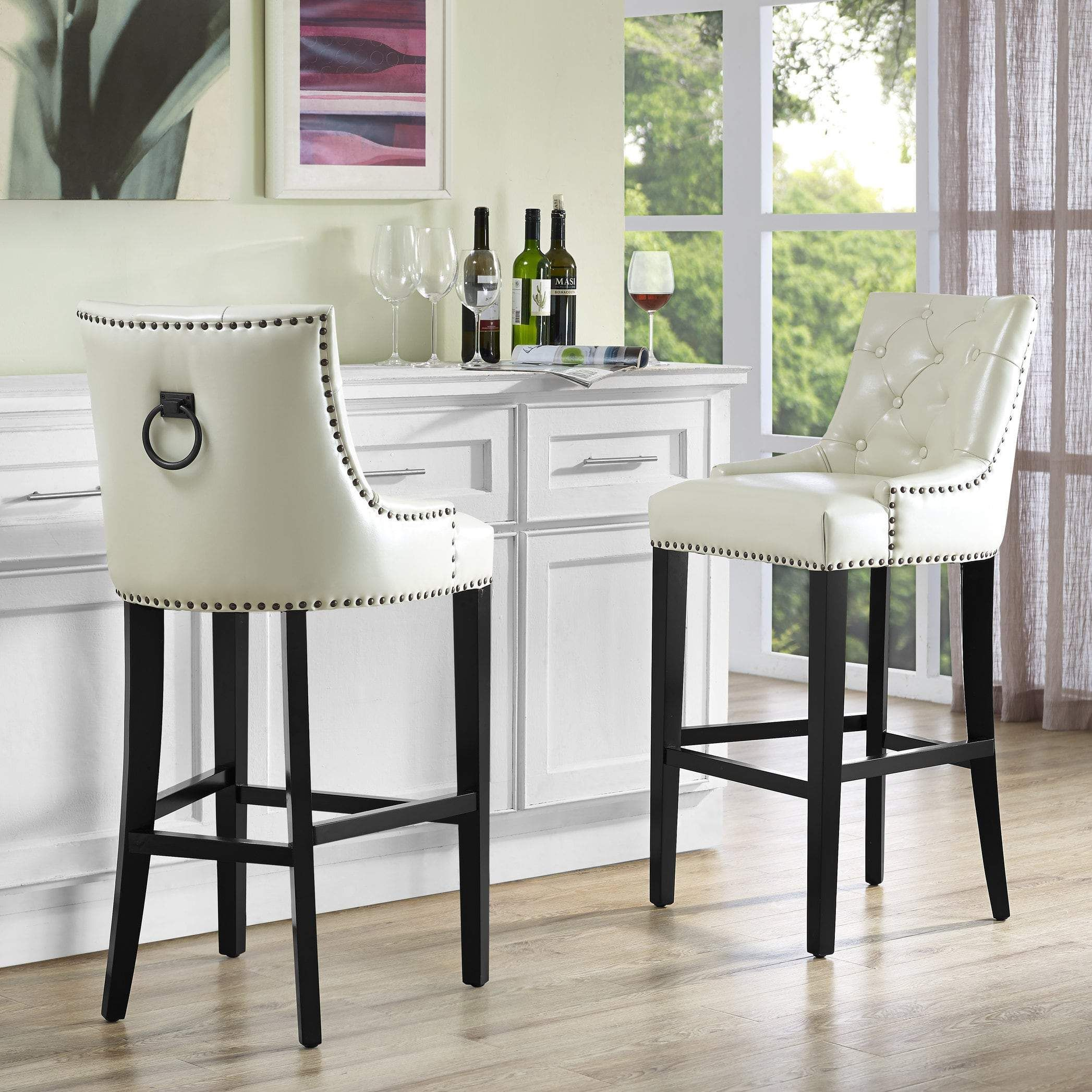 Cream Leather Counter Stool   Leather counter stools, Bar stools ...