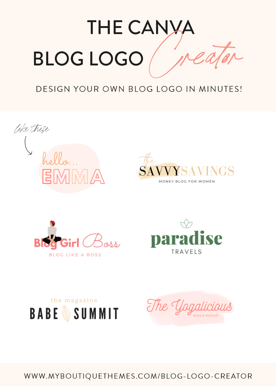 Blog Logo Creator for Canva 40+ Readytouse Logo