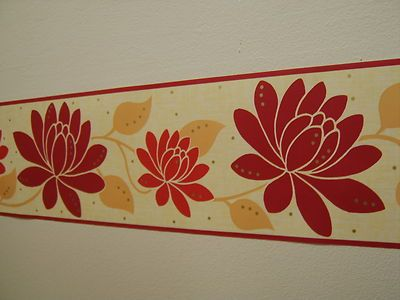 Water Lily Trail Red Cream Beige Leaf Bed Room Wallpaper
