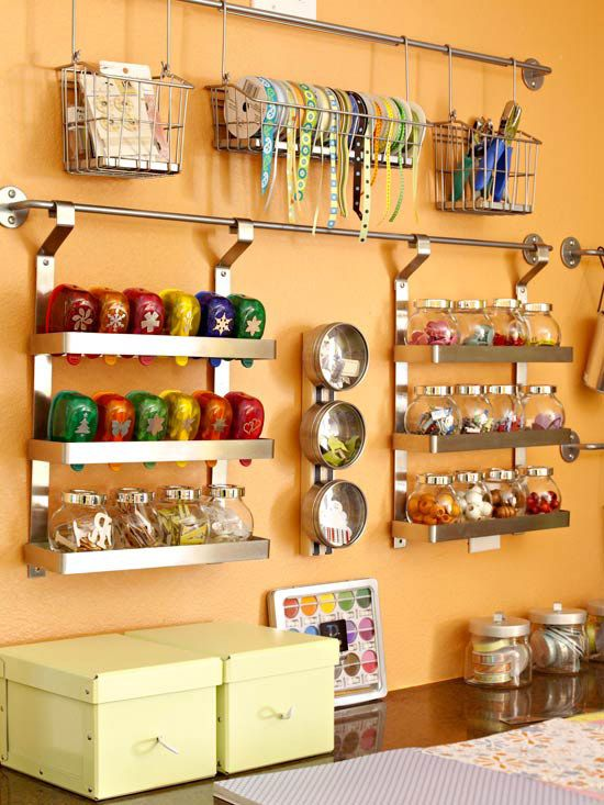 mount curtain or towel rods to the wall. supplies are out of drawers and off of surfaces yet still within easy reach. Baskets, bins, canisters, and magnetic strips provide homes for ribbons, stamps, paper punches, embellishments, beads, and other crafting essentials