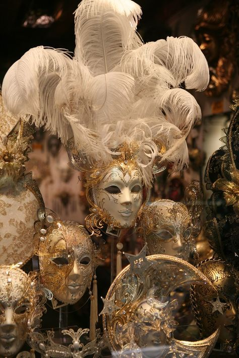Large Gold And White Mask With Feathers Masquerade Masks