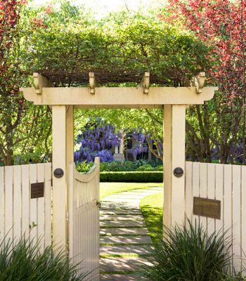 Inviting gate and fence  suggests more garden delights await-Wisteria lane: Sydney wisteria garden