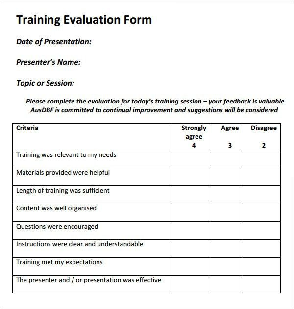 Training evaluation form 15 download free documents in word pdf - sample presentation evaluation