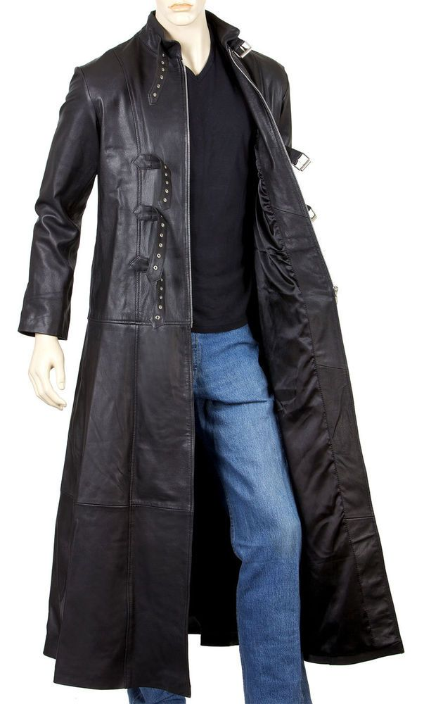uk store discount for sale elegant and graceful Mens Leather Goth Full Length Coat with Three Buckles and ...