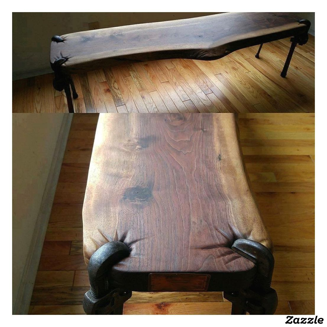 Rustic handcrafted pipe wrench wwood coffee table in
