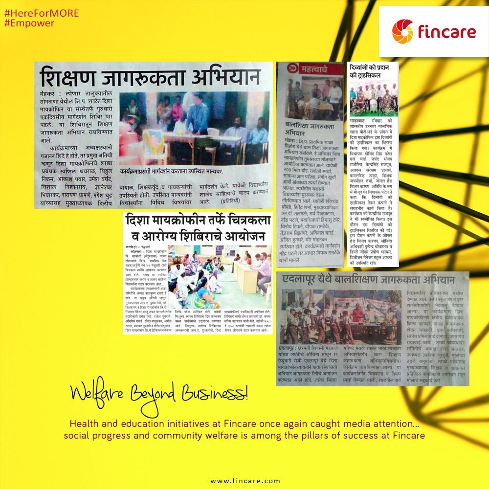 Health and education initiatives at Fincare once again caught media attention.  #HereForMore #Empower