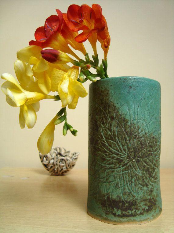 Ceramic Vase, handmade, decorated with nature inspired hand carved design, glazed stoneware, green / brown , home ware, gift, home decor, https://www.etsy.com/uk/shop/KFortnumCeramics