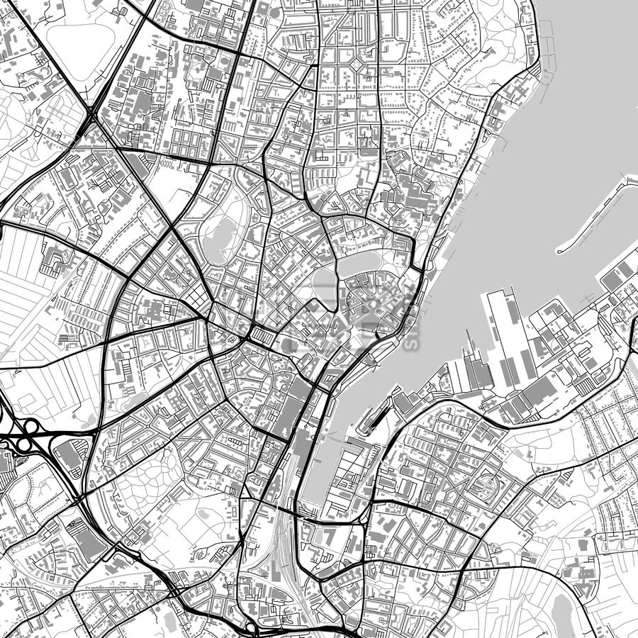 Kiel Germany vector map with buildings
