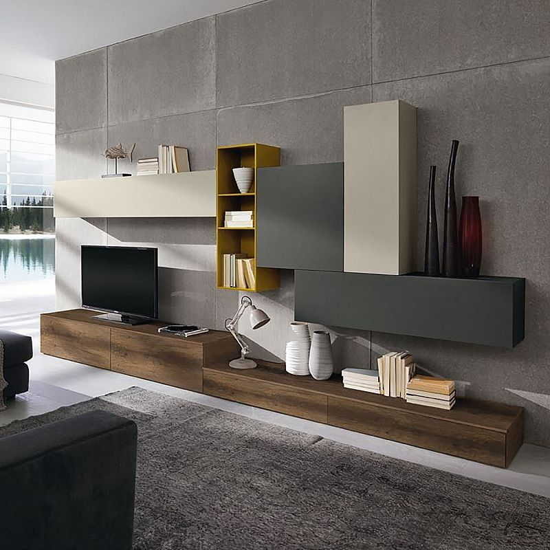 Contemporary Tv Unit Composition Atmosphere By Siluetto Features 5 Wall Mounted Units And 4 Contemporary Tv Units Modern Wall Units Living Room Design Modern