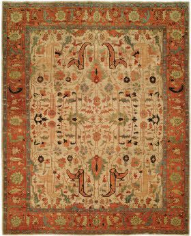 Harounian Antique Heriz 101 Ivory Rust Area Rugs Rugs