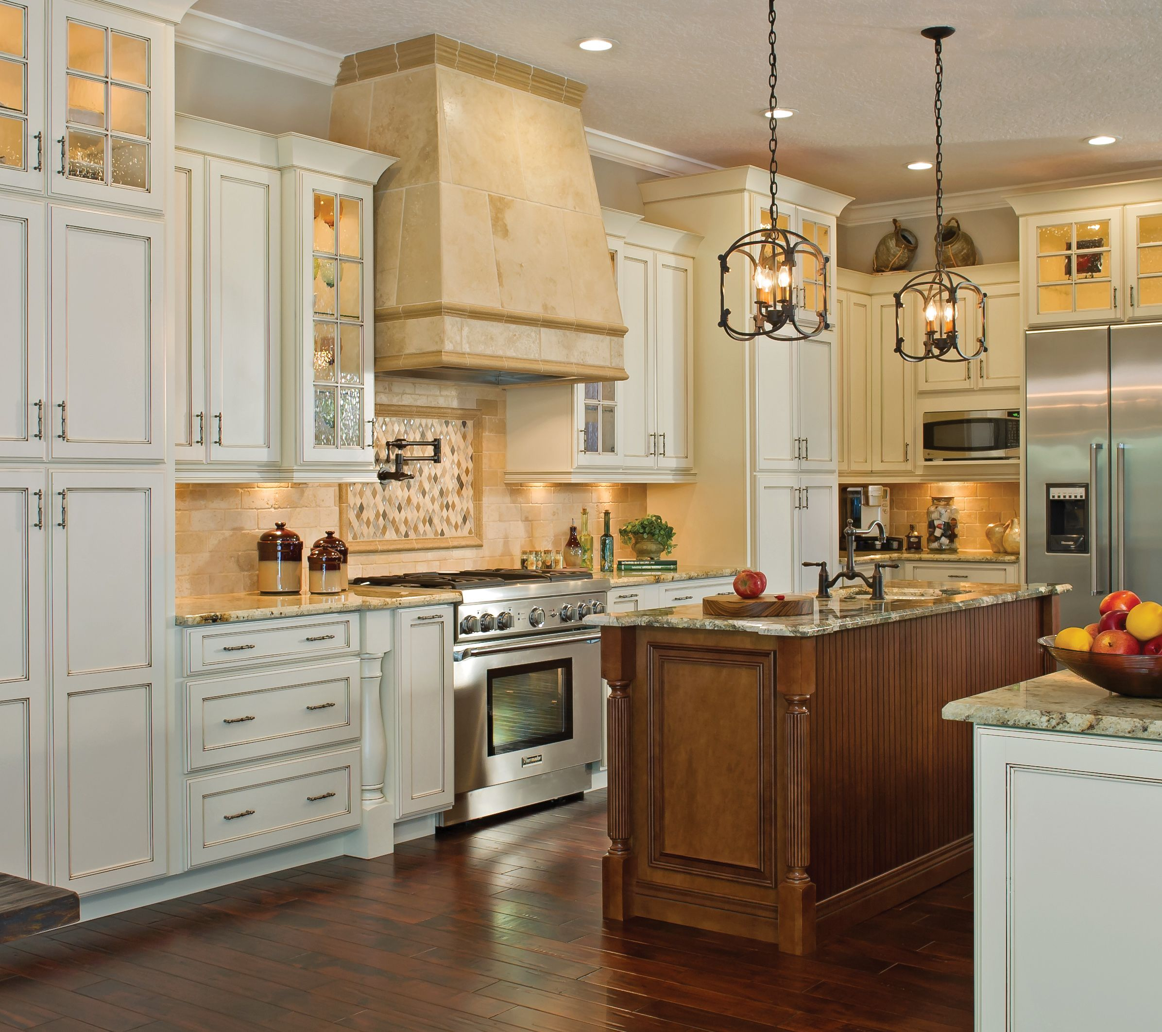 Superieur Traditional Kabinart Kitchen Shown In Hampton On Maple With An Aspen White  Finish And Coffee Glaze. Island In Sable With Coffee Glaze.