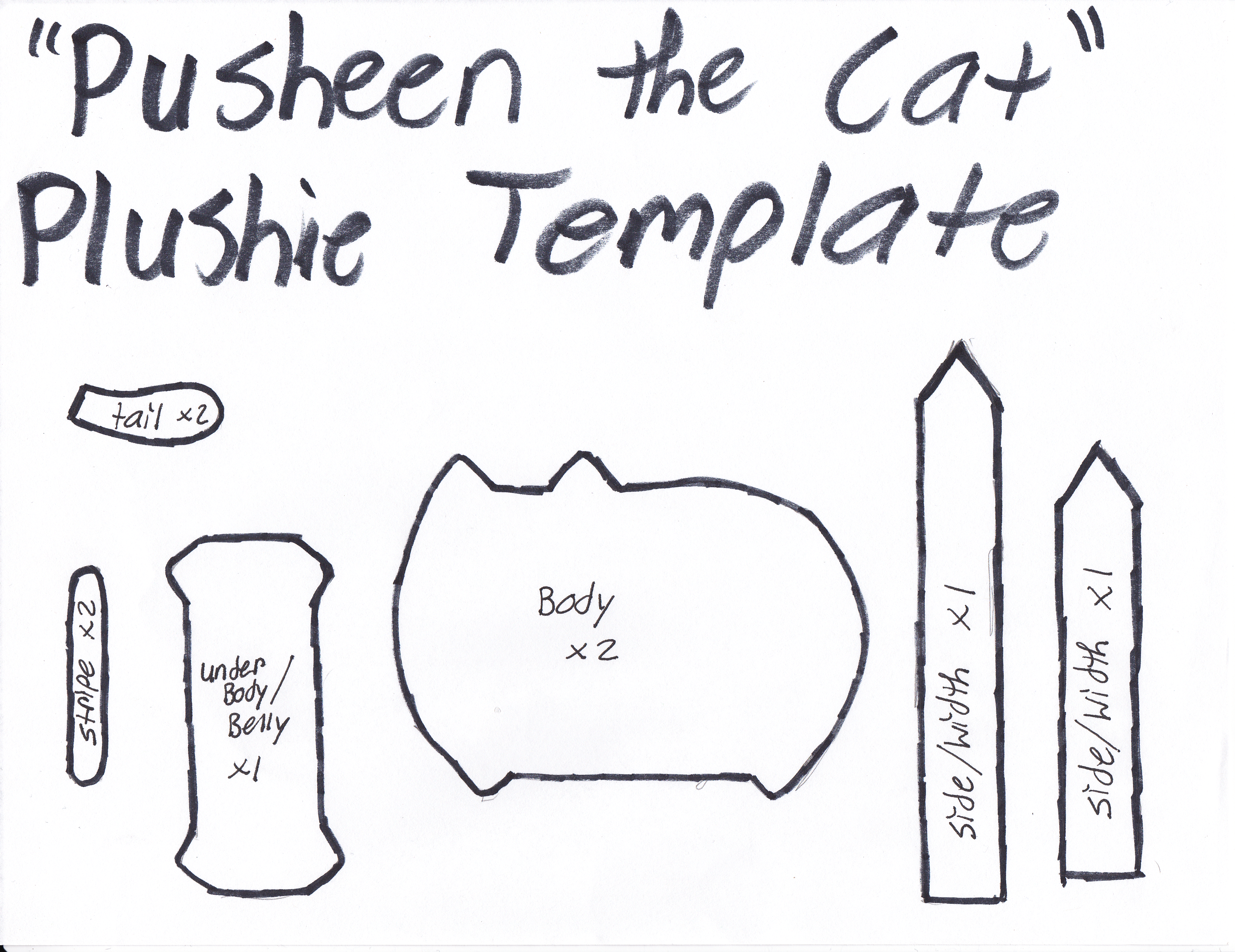 Pusheen The Cat Template by GRNMARCO.deviantart.com on