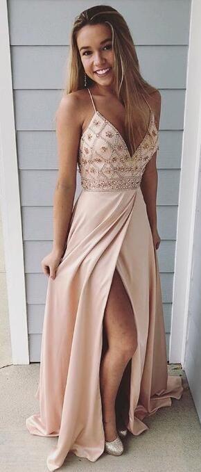 V-Neck Slit Prom Dresses 2018