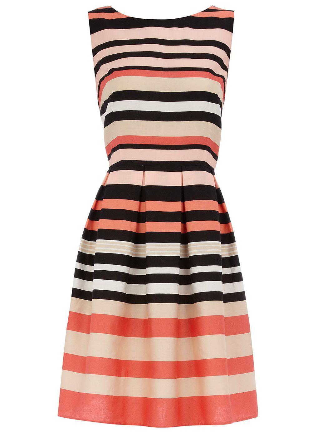 Pink stripe prom dress