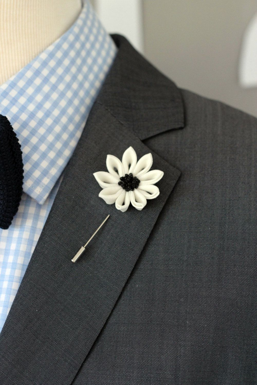 Elegant White Flower Lapel Pin Mens By Nevestica