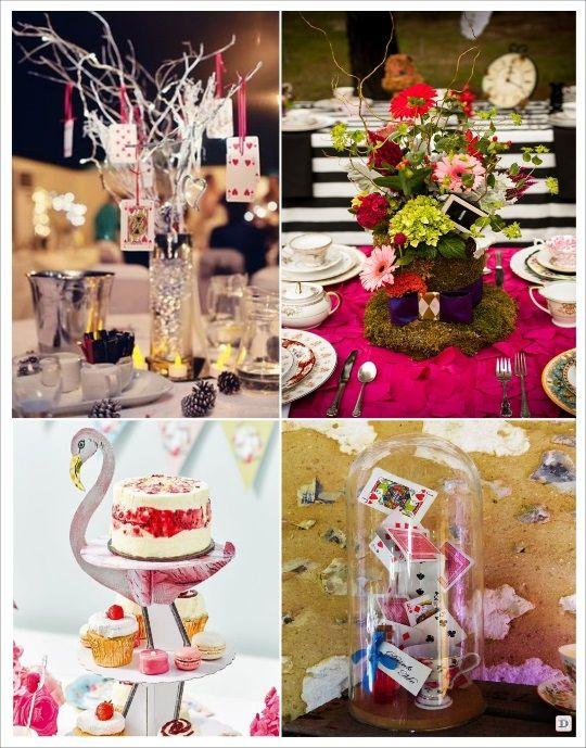 decoration mariage alice au pays des merveilles centre de table flamand rose branchage avec jeu. Black Bedroom Furniture Sets. Home Design Ideas